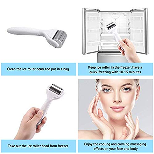 Ice Roller Derma Roller 6 in 1 Kit .25mm Titanium Microneedles, Ice Roller Dermaroller for Face and Body, 12/300/ 720 Titanium Micro Needle Ice Roller Massager Pain Relief
