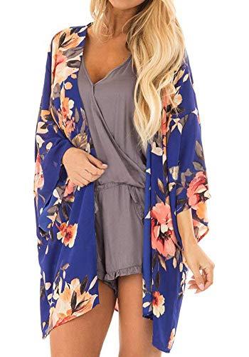 (Kesujin Kimonos for Women Chiffon Loose Floral Kimono Cardigan Lightweight Summer Sheer Womens Cardigans Navy Blue (Royal Blue, M))