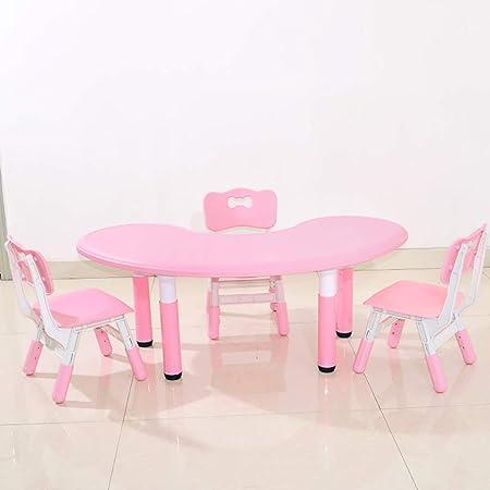 Juego de mesa y silla para niños, mesa elevadora de plástico con forma de luna y