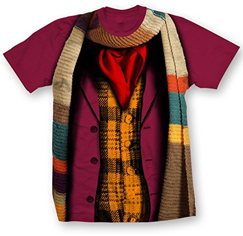 Doctor Who Classic Mens T-Shirt 4Th Doctor Costume Garnet (Red) Large (The Fourth Doctor Costume)