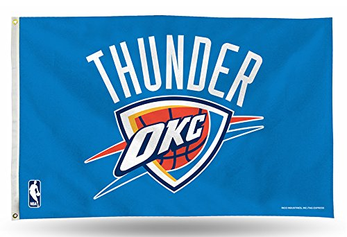 Rico Industries NBA Oklahoma City Thunder 3-Foot by 5-Foot Single Sided Banner Flag with Grommets