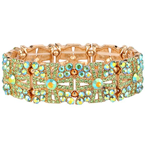 EVER FAITH Women's Austrian Crystal Wedding Hollow-out Cross Elastic Stretch Bracelet Green Gold-Tone