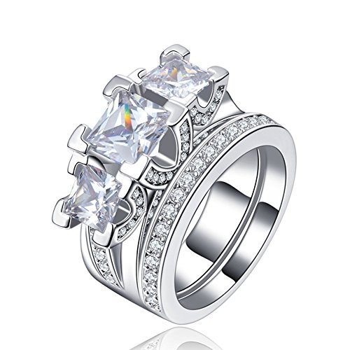 FENDINA Womens 18K White Gold Plated 3 Stone