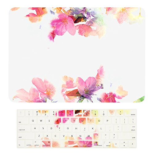 TOP CASE - 2 in 1 - Floral Reflection Hard Case + Keyboard Cover Compatiable with MacBook Pro 13-inch A1989,A1706 with Touch Bar (Release 2017,2016,2018) - Violet Reflection