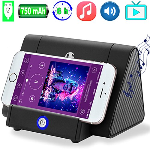 Portable Wireless Speaker Phone Stand Music Loudspeaker Rechargeable Sound Amplifier Inductive Audio Speakers for iPhone Android Laptop SmartPhone Desktop Computer Not Need Bluetooth Outdoor Speaker by JingStyle
