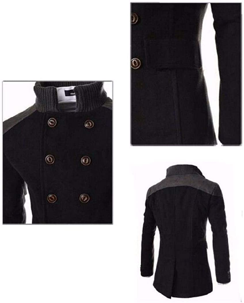 hotstype Men Fashion Casual Solid Double Breasted Long Sleeve Wool Blend Coat Wool /& Blends