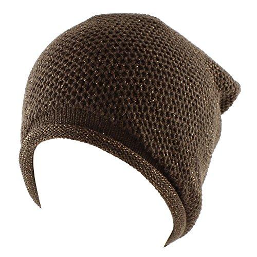 Metallic Thread Knit Slouchy Beanie Beret Winter Ski Warm Hat - Chocolate