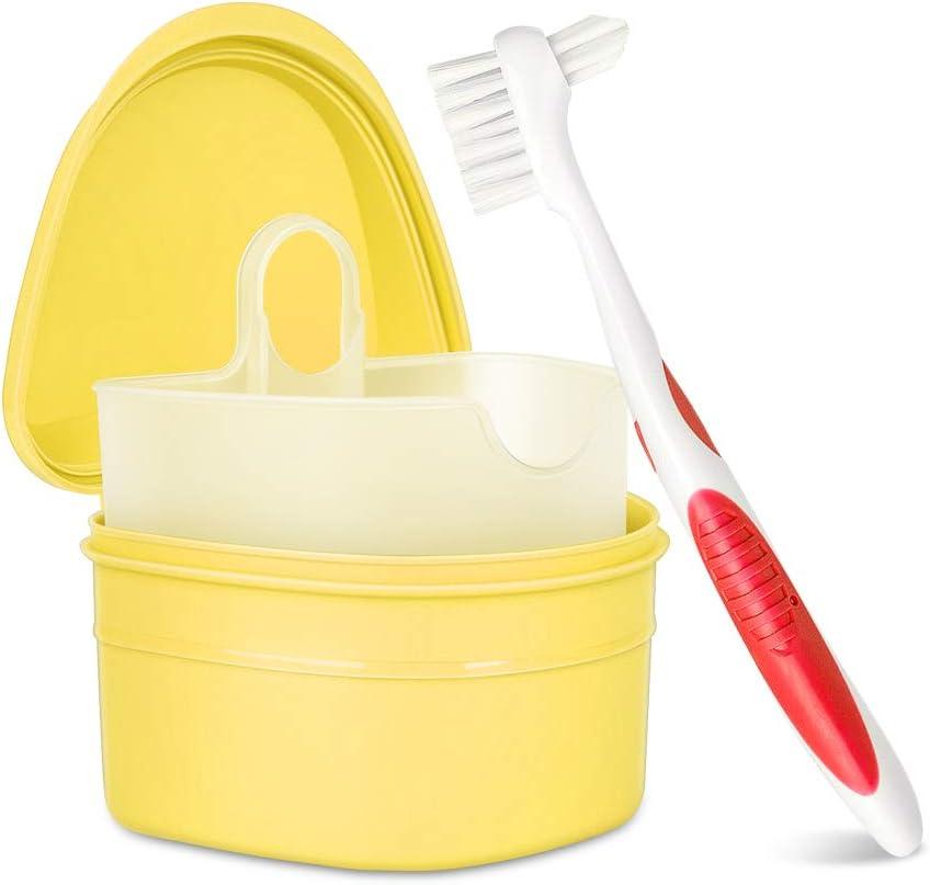 Y-Kelin juego de limpieza de dentadura caja de dentadura + cepillo de dentadura + pastillas de dentadura (Amarillo): Amazon.es: Salud y cuidado personal