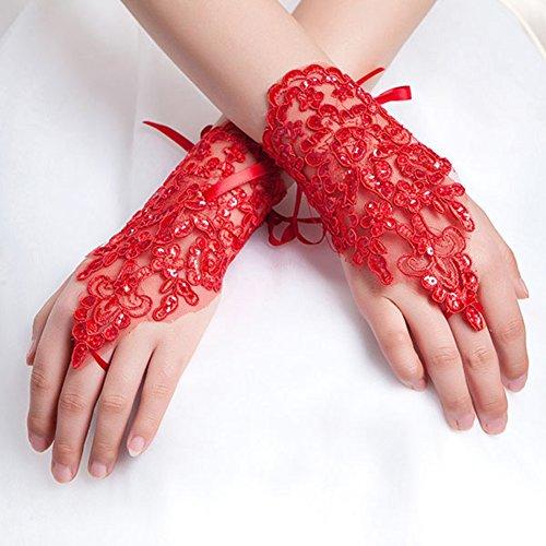 Rhinestone Satin Wedding Ring - Fashionclubs Bridal Fingerless Lace Embroidered Satin Rhinestone Wedding Gloves (Red)
