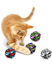 SunGrow Mylar Crinkle Balls for Cats, 1.5-2 Inches, Shiny and Stress Buster Toy, Lightweight and Suitable for Multiple Cats' Play, Hours of Entertainment, Ideal for Kittens and Adult Cats, 12 Pack