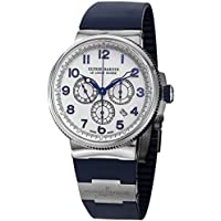 Ulysse Nardin Mens 1503-150-3/60 Marine Diver White Dial Blue Rubber Strap Watch