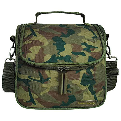 Camo Lunch Box For Kids & Adults Leak Proof Insulated Lunch Bag For School or Work Adjustable Detachable Straps (Green)