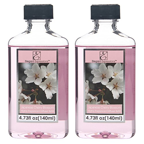 Aromatherapy Hosley Premium Grade Highly Scented Japanese Cherry Blossom Reed Diffuser Refill Oil - Set of 2 / 140 ml Each - Made in USA. FREE SHIPPING. BULK BUY Ideal for spa, Meditation settings