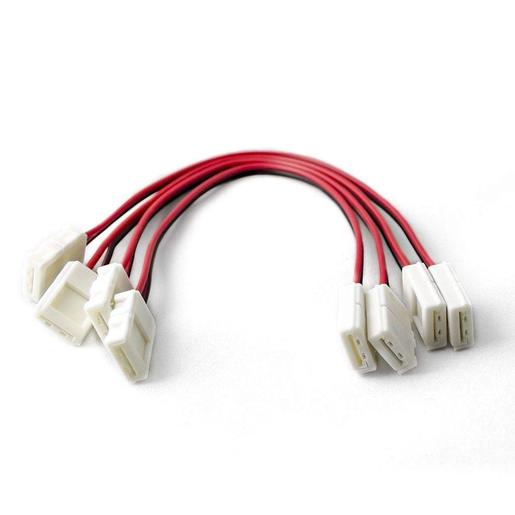 HitLights LED Light Strip Connector, 8mm Single Color 3528-6 Inch Any Angle Strip to Strip, 4 Pack