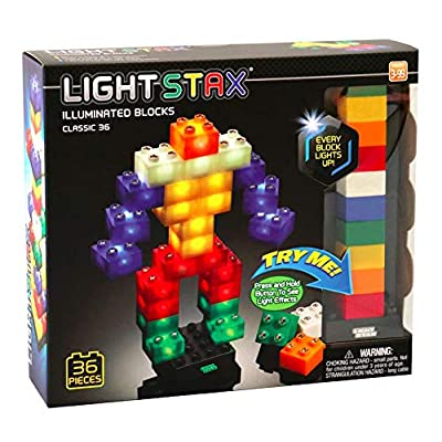 Light Stax Illuminated Blocks - Led Light Up Building Blocks - 36 Piece Set: Toys & Games
