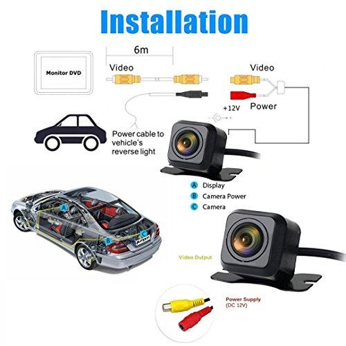 Quaanti New Arrival 170 Degree CMOS Waterproof Night Vision Car Rear View Reverse Backup Parking Camera HD (Black) by Quaanti (Image #6)