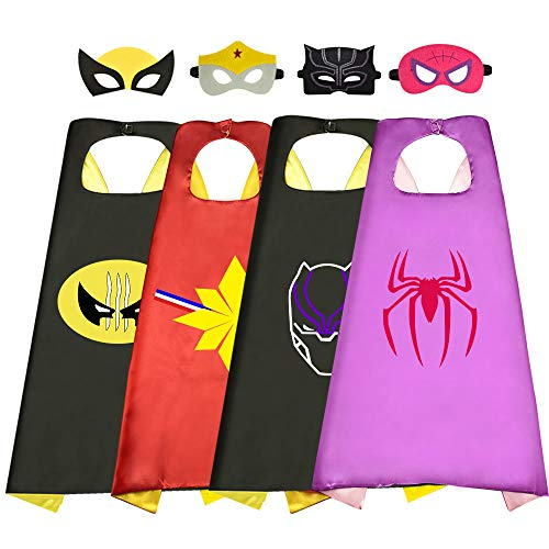 Roko Superhero Capes for Kids Kids Superhero Capes for Kids Kids, Toys for Boys Superhero Capes 3-10 Year Old Boy Gifts Superhero Party Supplies Christmas Xmas Stocking Stuffers New Girl 4 Pack