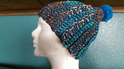 Brown Raider Adult Hat (slouchy winter beanie hat, teal, brown, green with pom)