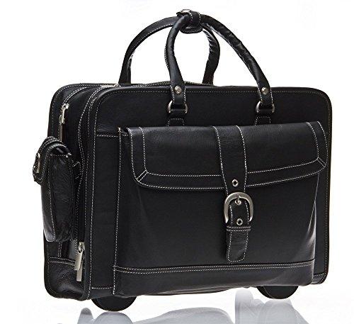 Business Laptop Tasche Mit Rollen Schwarz Leder 43.2cm Reisetasche Neu C68iPV8Qw