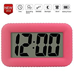 TXL Digital Alarm Clock Table Electronic Clock with Rubber Case Display Time/Alarm, Snooze/Backlight, Adjustable Light Dimmer Battery Operated Bedside Desk/Shelf Clock, Gift for Kids/Teens/Home, Pink