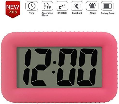 Digital LCD Display Alarm Clock for Girls Kids Teens Backlight Bedside Pink Cube