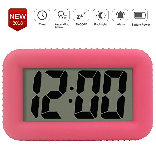TXL Digital Alarm Clock Table Electronic Clock with Rubber Case Display Time/Alarm, Snooze/Backlight, Adjustable Light Dimmer Battery Operated Bedside Desk/Shelf Clock, Gift for Kids/Teens/Home, - Display Clock Pink