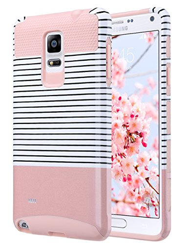 ULAK Note 4 Case, Galaxy Note 4 Case, Knox Armor Slim Dual Layer Protection Hard Back Cover Shock Absorbent TPU Bumper Case for Samsung Galaxy Note 4 (5.7 inch) Minimal Rose Gold Stripes