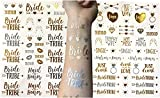Bachelorette Party Temporary Tattoo Collection - 82 Super Cute and Fun Gold and Silver Flash Tattoos - Perfect Party Favors for your Bride Tribe! (2 Sheet Pack (82 Tattoos in Total))