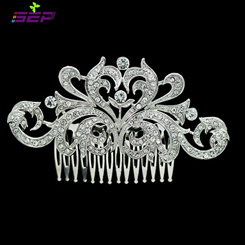 Silver Rhinestone Crystal Bridal Wedding Hair Comb Pin Accessories Jewelry FA3280CLE