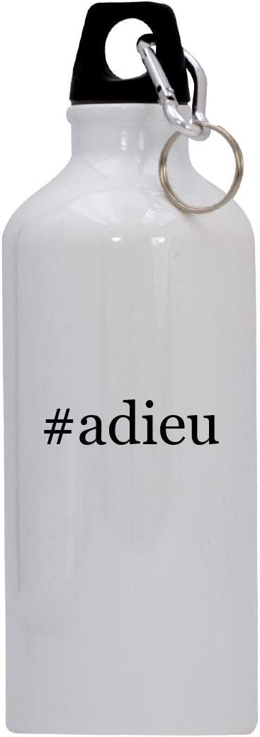 #adieu - 20oz Hashtag Stainless Steel Water Bottle with Carabiner, White