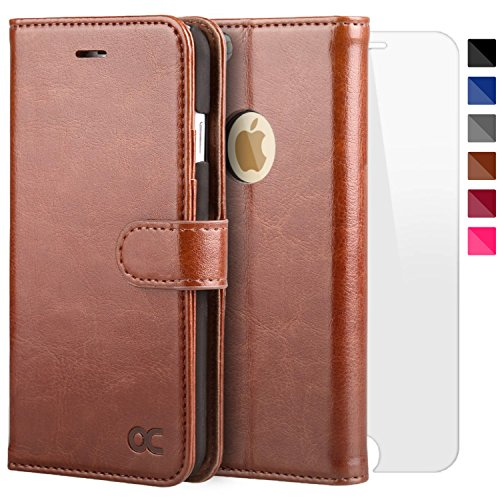 OCASE iPhone 6S Case Leather Flip Wallet Case [Free Screen Protector Included] for iPhone 6 / 6S Devices - Brown