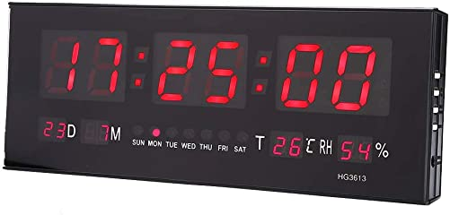 Wall Clock, Multi-Functional Large Digital LED Alarm Clock with Calendar Temperature Humidity Display for Living Room Office Conference Room Bedroom, US Plug