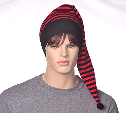 Red and Black Striped Nightcap Cotton Hat to Sleep in
