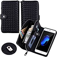 Urvoix iPhone7 / iPhone 8 Case, Woven Skin Leather Zipper Wallet Detachable / Separable Magnetic Back Shell Cover / Hand Strap, Card Slots for iPhone 7 / iPhone 8 (4.7-inches Version) Black