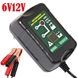 6V/12V 1.5A Intelligent Lead-Acid Battery Charger 4 Stages Automatic Maintainer 2 in 1 for Auto Car Motorcycle Lawn Mower SLA ATV AGM Gel Cell Lead Acid Batteries