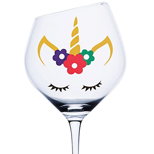 Pcs Unicorn Face Vinyl Decal Sticker Christmas Baubles Girls - Vinyl decals for wine glasses uk
