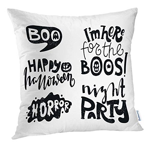 Batmerry Black and White Pillow Cover 18x18 inch,Black White Happy Modern Hand Banner Halloween Party Font Quote Throw Pillows Covers Sofa Cushion Cover Pillowcase ()
