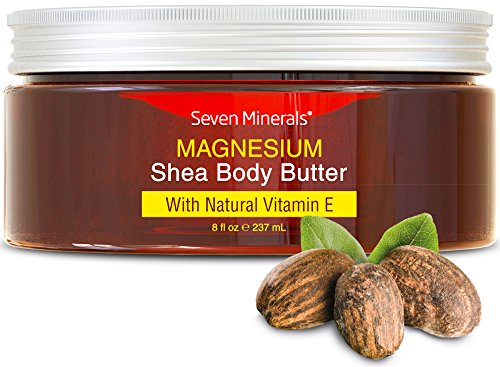 NEW Magnesium Skin Repair Cream for Dry Skin, Cracked Heels, Feet & Hands. 93% Organic & All Natural USA Made Intensive Moisturizer with Shea Butter and Vitamin E. Seven Minerals