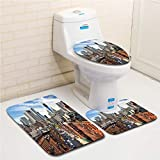 Family bathroom set of 3, bathroom rug + contour pad + lid toilet seat City,Lower Manhattan Cityscape Famous Travel Destination NYC Avenue Historical,Dark Orange Grey Blue flannel carpet