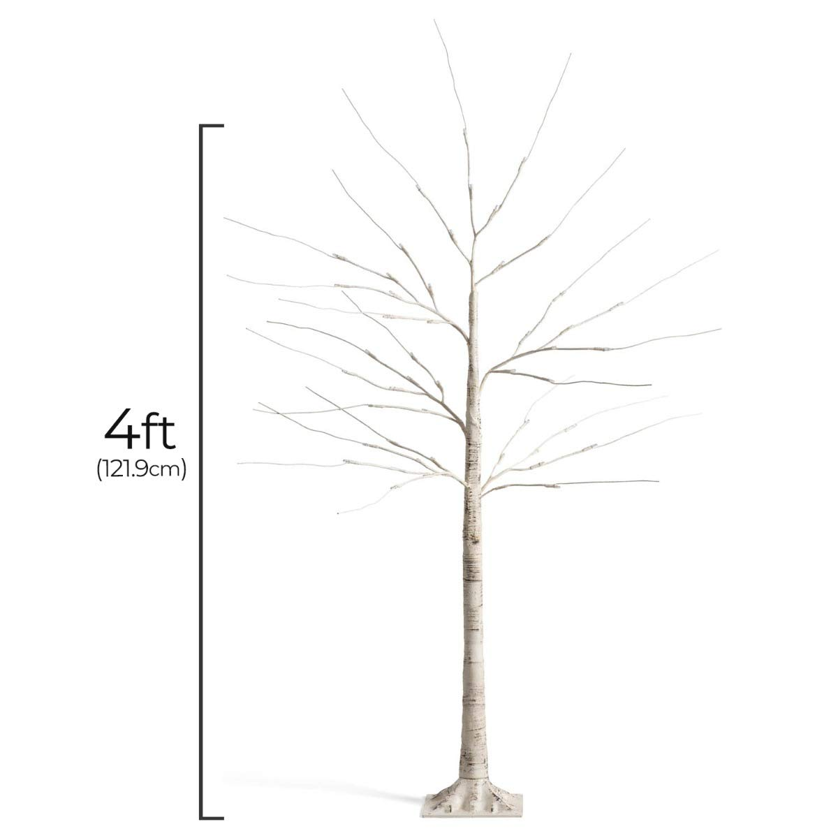 Indoor Outdoor Free Standing Light Up Twig Ornament 4ft 5ft 6ft Pre Lit Christmas Decoration Christow Warm White LED Birch Tree