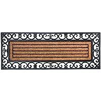 Esschert Design - Zerbino rettangolare in gomma, a lavorazione artistica, inserto centrale in fibre di cocco, da circa 120 cm x 45 cm, colore: Nero/Naturale cocco