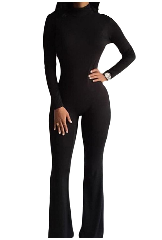 Vska Womens Stylish Solid Turtleneck Jumpsuit Romper Trousers