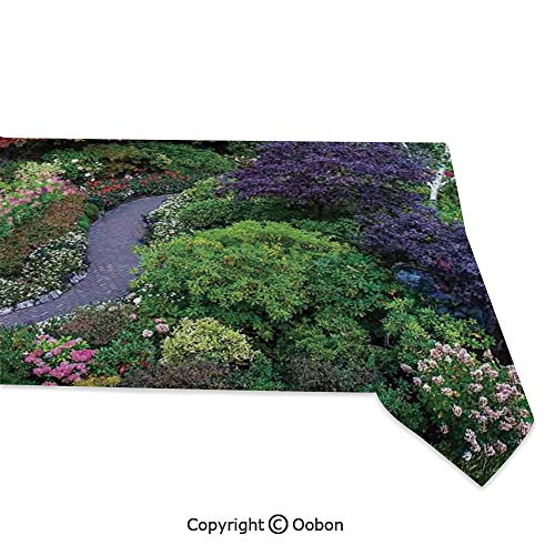 Space Decorations Tablecloth, Famous Masterpiece of Park Architecture Butchart Gardens Colorful Flowers Leaves Print, Rectangular Table Cover for Dining Room Kitchen, W60xL84 inch