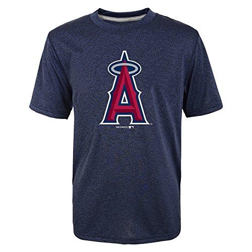 MLB Los Angeles Angels of Anaheim Youth Boys Phantom Heathered Short Sleeve Tee, Athletic Navy, X-Large 14/16