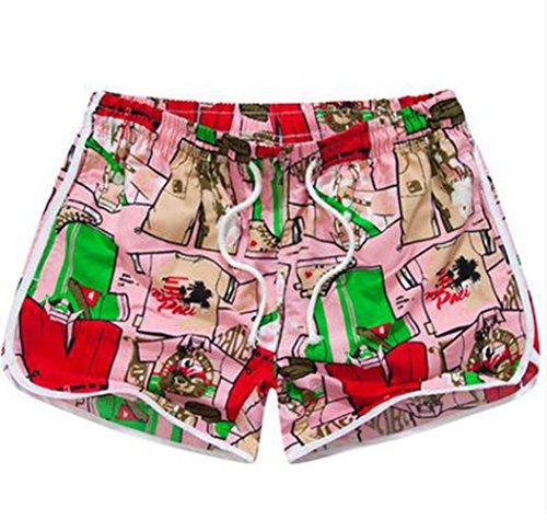 BININBOX® Damen Shorts Badeshorts Badehose Surfshorts beach pants Surfwear schnelltrocknend Beintasche bunt verstellbarer Bund Pink Ps0onQ7Epz