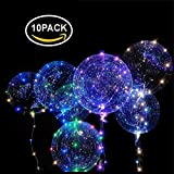 POPGRAT Led Balloons Light Up Balloons Transparent Glow Helium Wedding Neon Night Balloons, Last 36 Hours Decorations Special Birthday Party Supplies, 18''