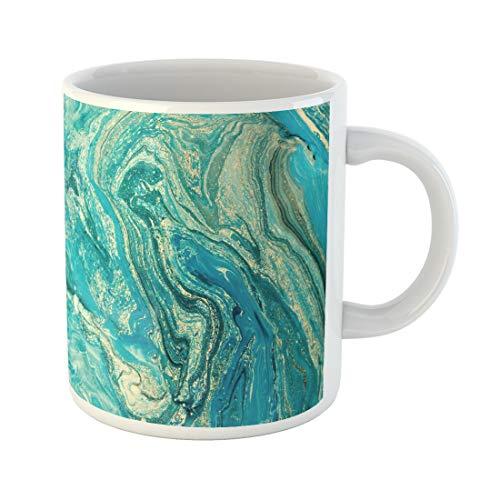 Semtomn Funny Coffee Mug Blue Aquamarine Marbling Creative Abstract Oil Cracks Liquid Paint Watercolor 11 Oz Ceramic Coffee Mugs Tea Cup Best Gift Or Souvenir ()