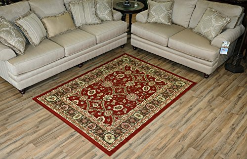 Mahal Allover Traditional Persian Oriental Design Runner and Area Rug Red Color Printed Slip Skid Resistant Rubber Back (Red, 4'11