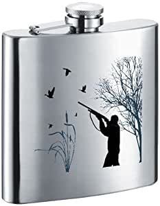 """Visol """"Duck Hunting"""" Stainless Steel Hip Flask, 6-Ounce, Satin Finish, Chrome"""