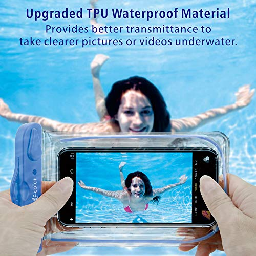 Waterproof Case, 4 Pack F-color Floating Clear Waterproof Phone Pouch TPU Dry Case Compatible iPhone X 8 7 7 Plus Home…